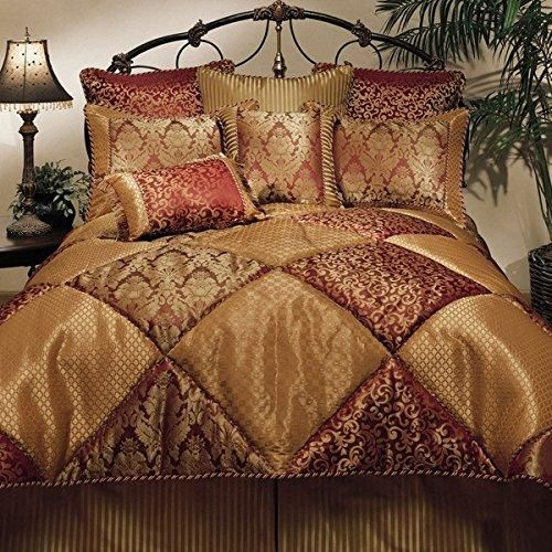 8 piece Gold Red Comforter Set Outstanding Jacquard Geometric Pattern Modern Glorious Traditional King