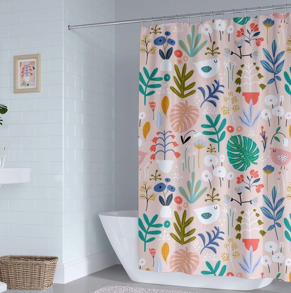 Birds And Leaves Kids Shower Curtain Floral Girl Shower Curtain