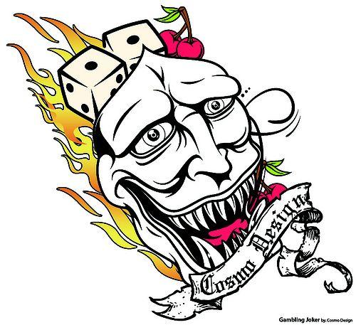 Gambling Joker tattoo design    http://www.tattoodesignslive.com/ #poker #facebook