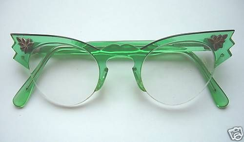 green cat eyeglasses