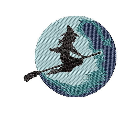 Witch on the broom - Embroidery Design -  Instant Download - Two variants
