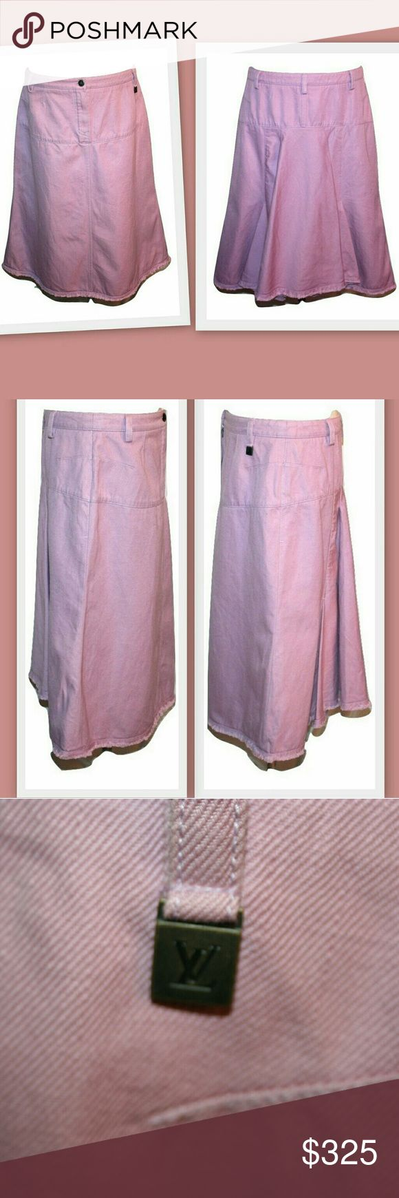 """Louis Vuitton mauve back pleat skirt Louis Vuitton skirt. Mauve colored heavy denim canvas type fabric.  A-line cut. Fly front zipper with a logoed waist button.  LV hang tag at the waist. Belt loops. Fringed hem. Couture finished seams. Unlined.   Please note: the color photographed more lavender from a far, but is definitely more of a pinkish mauve as seen in the closeup photos of the LV tag and button.   75% cotton 25% linen  Made in France  Marked size 44 Waistband 33"""" Hips 42"""" Length…"""