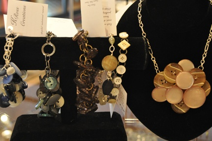 K. Ross Creations, available at The Shawp! Working with natural elements such as wood, shell, stone and recycled components, Kristin has a vision and creates this vision into one of a kind art. She is proud to live in the Niagara Region and offer Canadian made, one-of-a-kind wearable art.