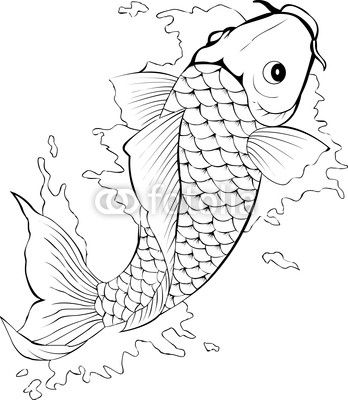 Golden fish template for tattoo