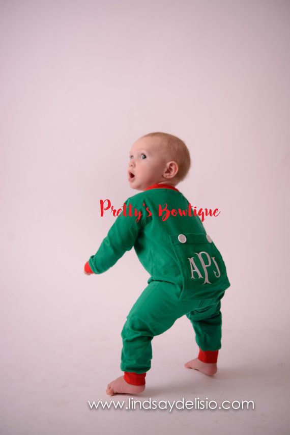 Christmas Pajamas for Family – Christmas Long Johns Monogrammed in Sizes 3 Months to Adult