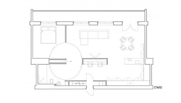 minimalist open apartment layout