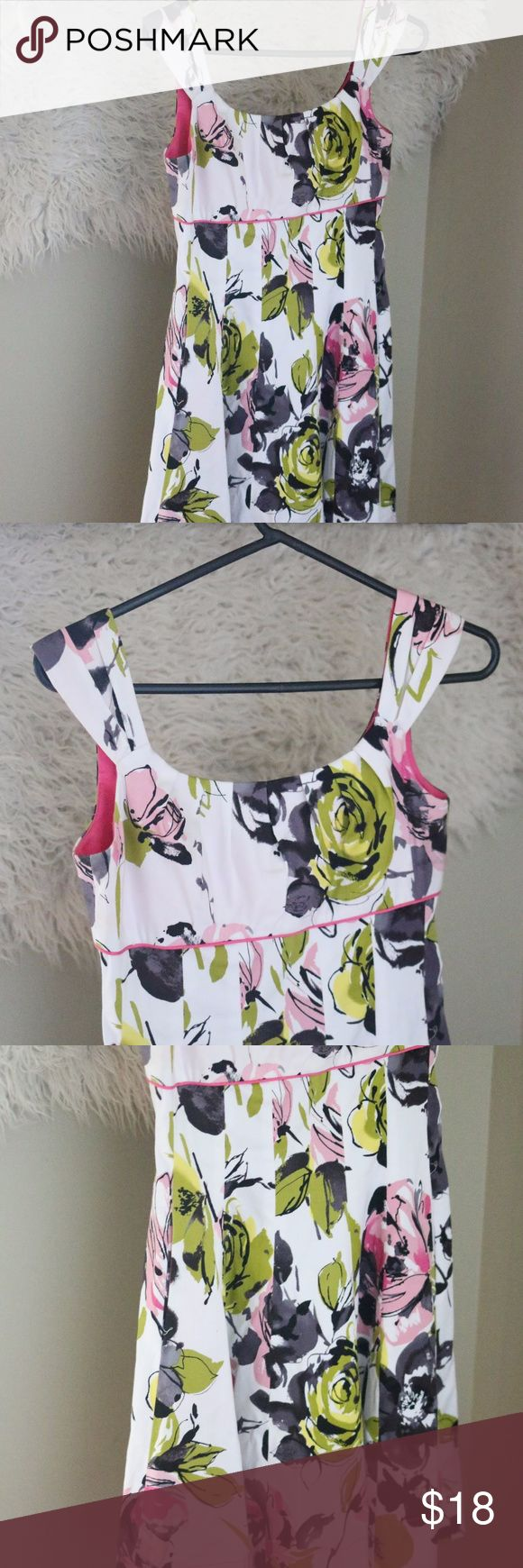 Maggy London Empire Waist Dress Floral Sleeveless Gorgeous Maggy London Women's Dress.  Size 6p (petite).  Empire waist with pleated bottom.  White with a green and pink floral pattern.  Sleeveless.  97% cotton, 3% spandex.  Dry clean.  In good, preowned condition with no flaws noted.  No trades, offers welcome. Maggie London Dresses