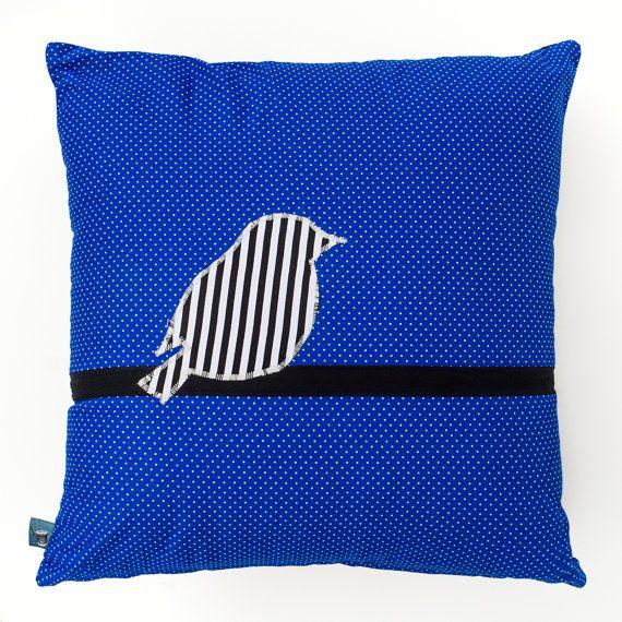 Blue Cushion with a Striped Bird on a Branch 45cm x 45cm