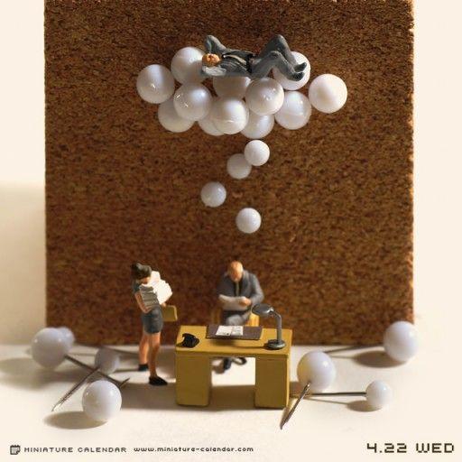 Miniature Calendar Pins. Tiny people and miniature photography