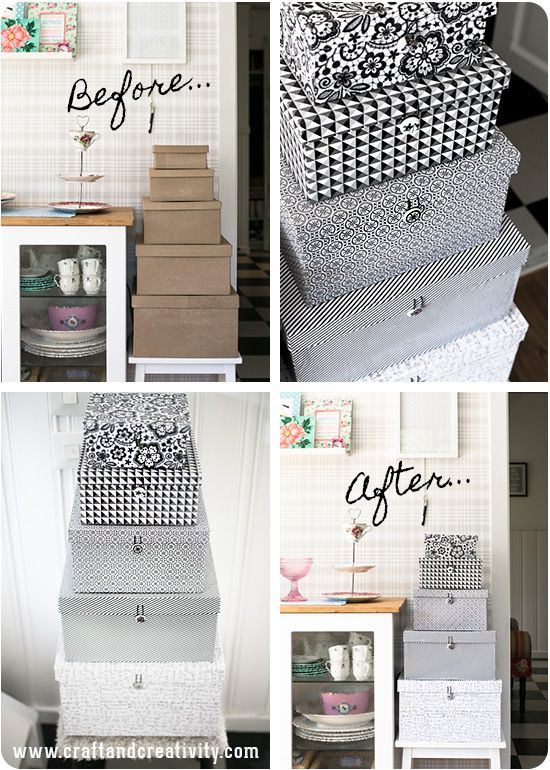 Storage box makeover - covering plain boxes with patterned paper and adding a button clasp