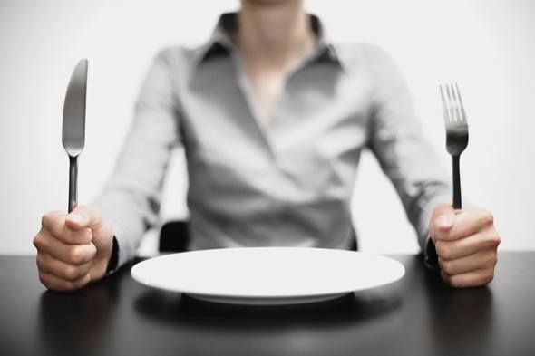 Woman with an Empty Plate in Front of Her Holding a Fork and a Knife