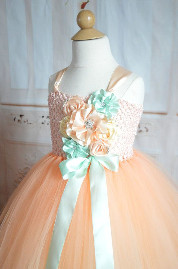 Peach and mint flower girl tutu dress by TutuSweetBoutiqueINC, $70.00