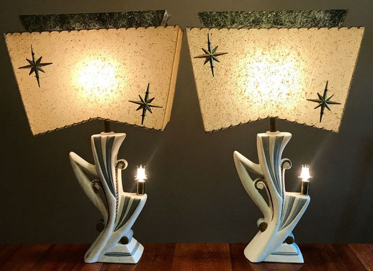 Wild Pair Of Mid Century Majestic Fiberglass Shade Retro Table Lamps #MidCenturyModern