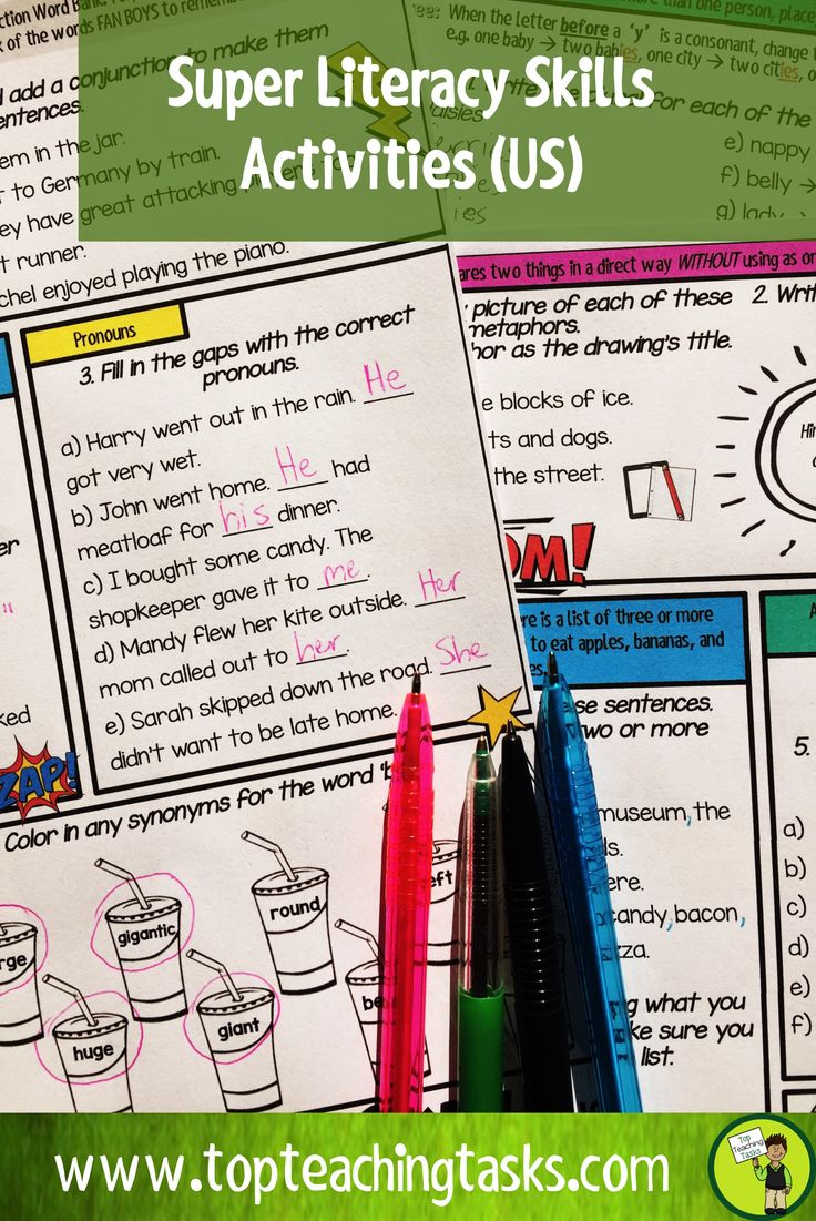This literacy and english language arts activity pack covers the surface and deep feature writing skills of grammar (parts of speech), punctuation, sentence structure, spelling, vocabulary and figurative language! A full year of worksheet activities and assessments (diagnostic, summative and formative) are included for a Grade Four and Grade Five curriculum. CCSS aligned. #PrintandGo #WritingIdeas #TeachingIdeas #GradeFour #GradeFive