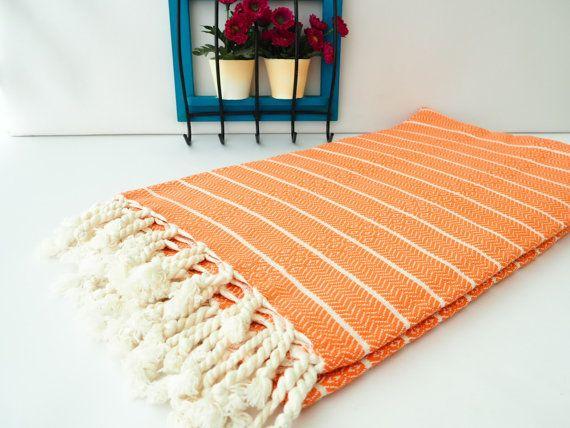 Orange Bamboo TowelOrange Turkish TowelBamboo Turkish by Cottonia