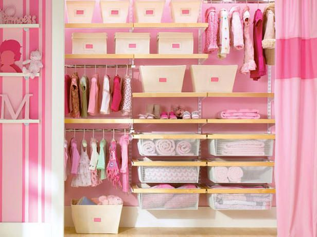 Adorable closet idea for baby girls room.