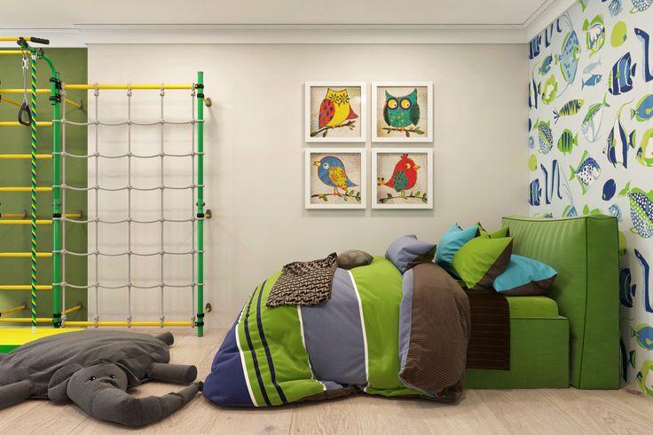 Интерьер детской комнаты младшего сына. Ребенок бережно и с любовью относится к окружающему его миру. И эти нотки детской любви к природе, дизайнеры передали через интерьер и декор его комнаты.