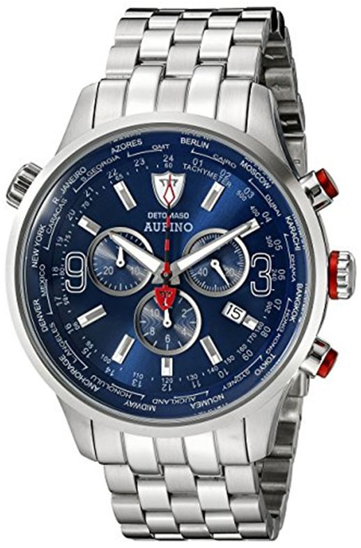#Cronografo #Detomaso Aurino in #acciaio quadrante blu