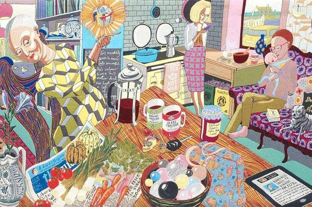 "Grayson Perry's ""The Annunciation of the Virgin Deal"" tapestry….. with an AGA!. #AGA"
