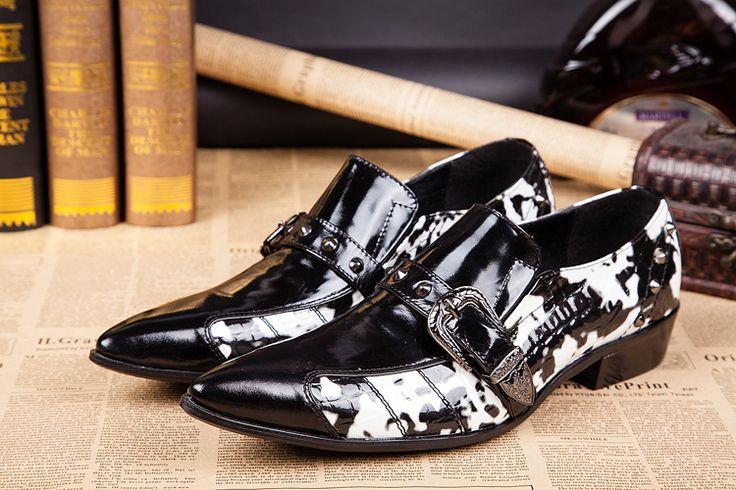 Christia Bella Fashion Mens Oxfords Shoes Formal Dress Shoes Printing Wedding Party Italian Men Shoes Genuine Leather Men Flats