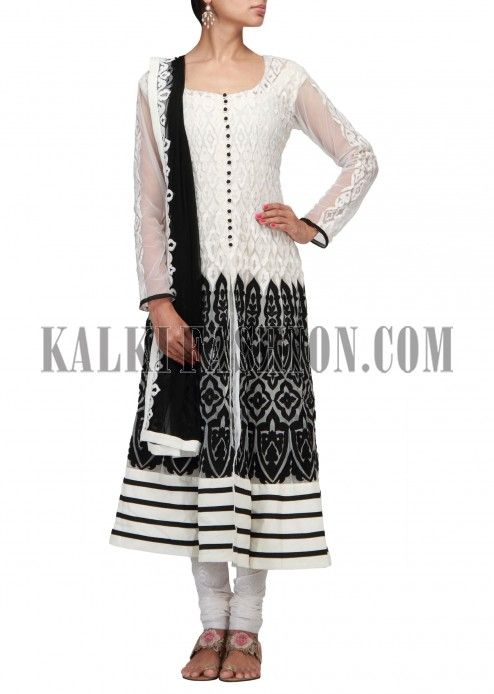 White and black anarkali suit embroidered in thread