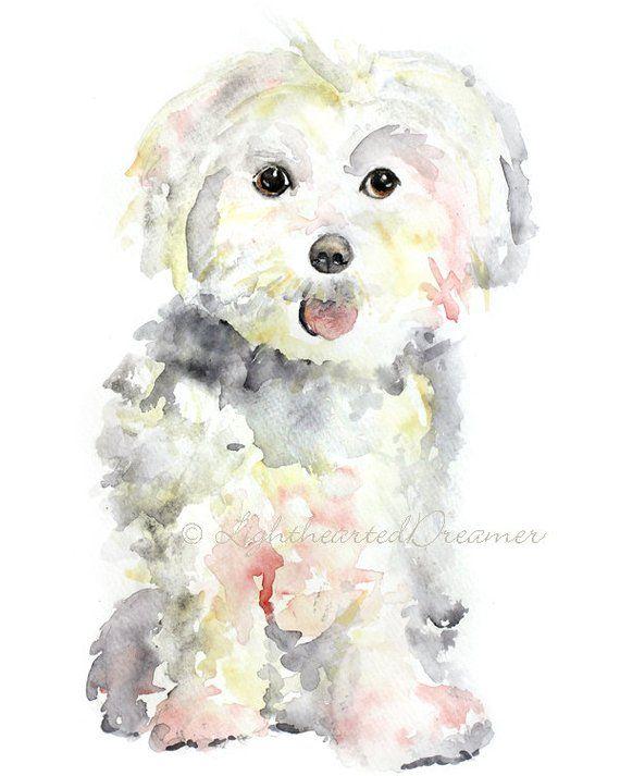 Maltese Painting Dog Print Maltese Puppy Print Kids Wall Art Giclee Print Dog Nursery Art Wat Dog Print Art Watercolor Dog Dog Art
