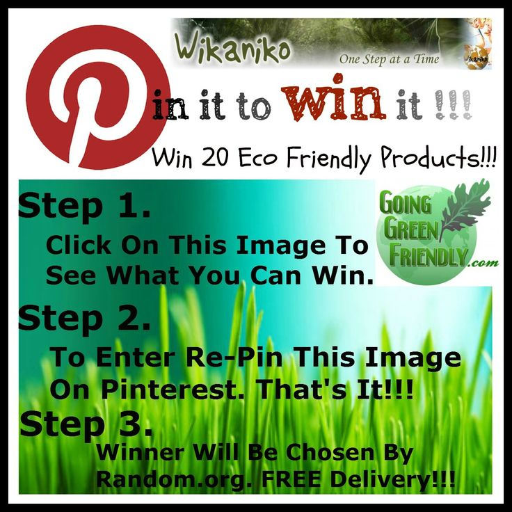 Re-Pin It To Win It! FREE competition to win eco friendly products from Wikaniko. From http://goinggreenfriendly.com/repin-it-to-win-it/