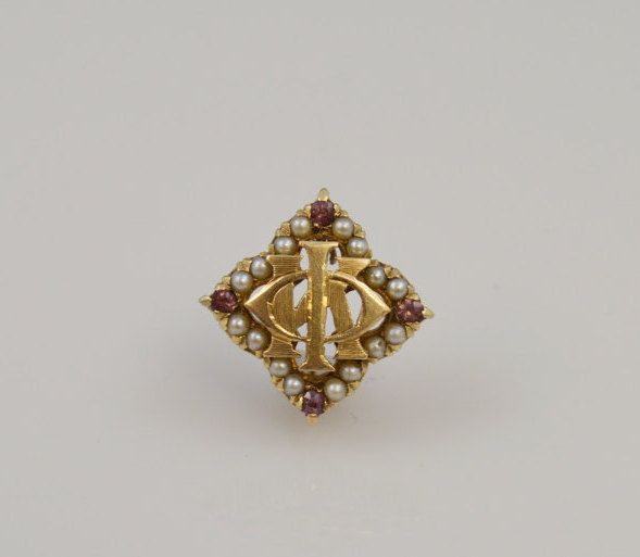 14K Yellow Gold Seed Pearl Rubies PHI KAPPA Fraternity Sorority Badge Pi-2.9 grams by ContemporaryIsMe on Etsy