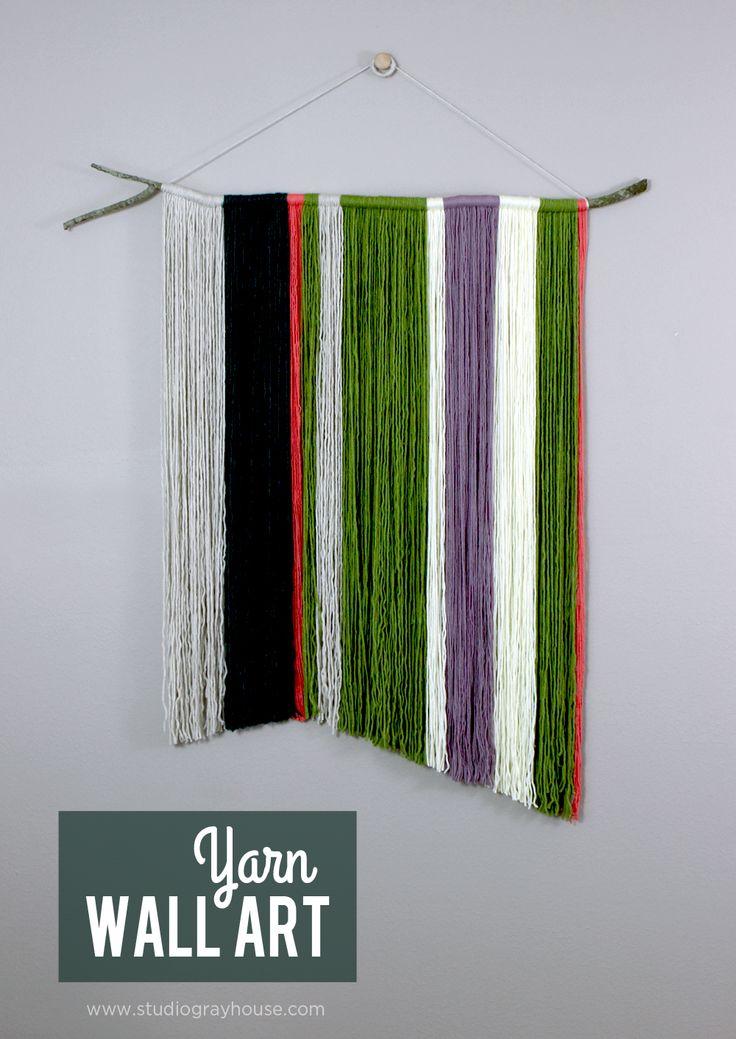 Branch yarn wall hanging wall hangings design and art for Diy yarn wall art