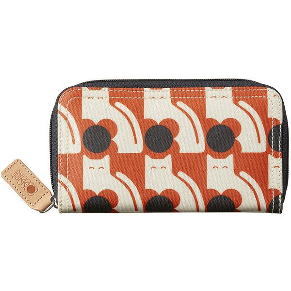 Orla Kiely Laminated Poppy Cat Big Zip Purse - Persimmon ($80) ❤ liked on Polyvore featuring bags, wallets, orange, zip wallet, orla kiely wallet, cat wallet, coin wallet and laminated bags