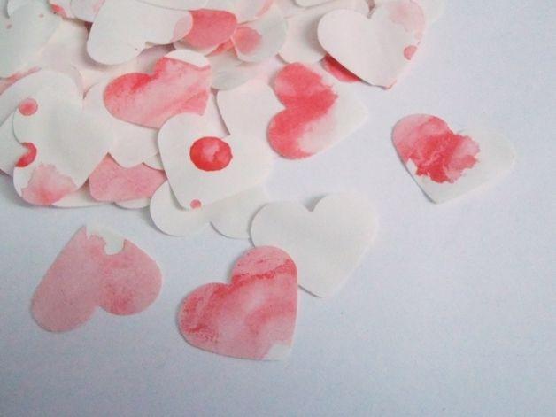Decorazioni - 110 sangue cuori coriandoli acquerello nozze rosso - un prodotto unico di LaSoffittaDiSte su DaWanda