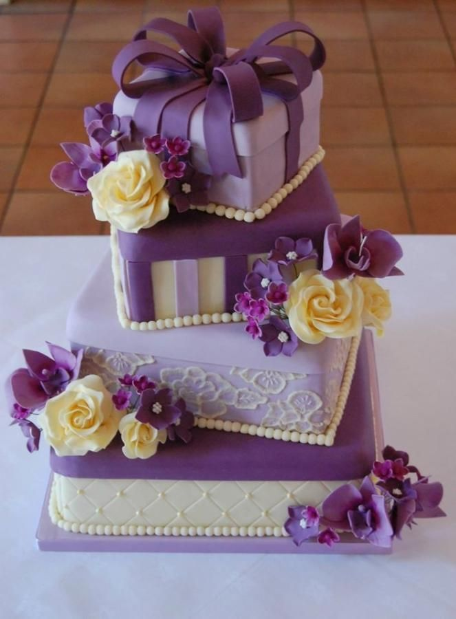Purple and Cream Flower Gift Boxes Wedding Cake
