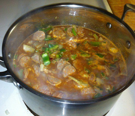 Ingredients are all added and ready to cover and start simmering.