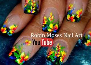 Robin Moses Nail Art: DIY Hand Painted Neon Flower nail art design Tutorial