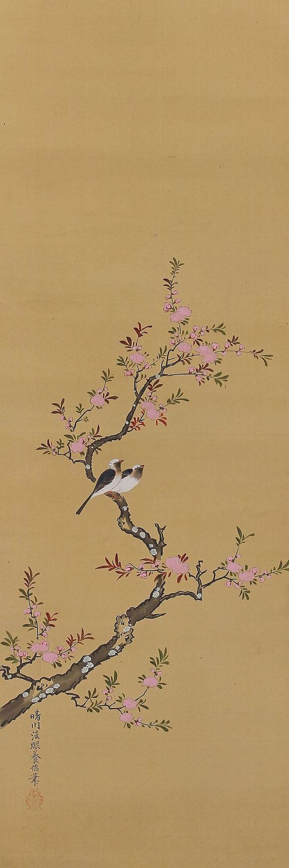 Bird and Flower by Kano Osanobu. Japanese hanging scroll painting.