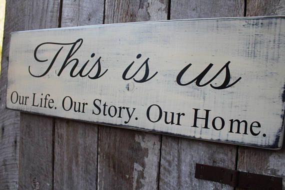 This Is Us Our Story. Our Life. Our Home. Wood Sign. This sign measures 9.25 tall x 30 inches long with notch in back for hanging. A perfect Staement size, this sign is perfect for topping a family wall of photos, perfect for blended families, a great house warming gift too. The