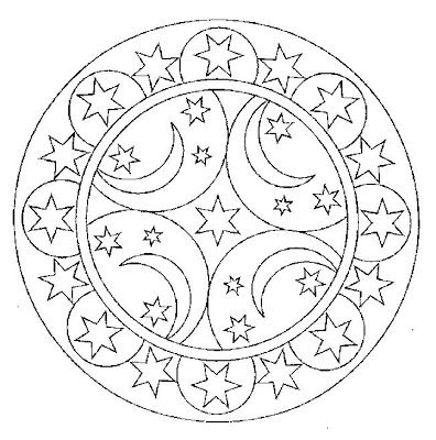 Celestial Moon and Star -- Mandala -- Coloring Page