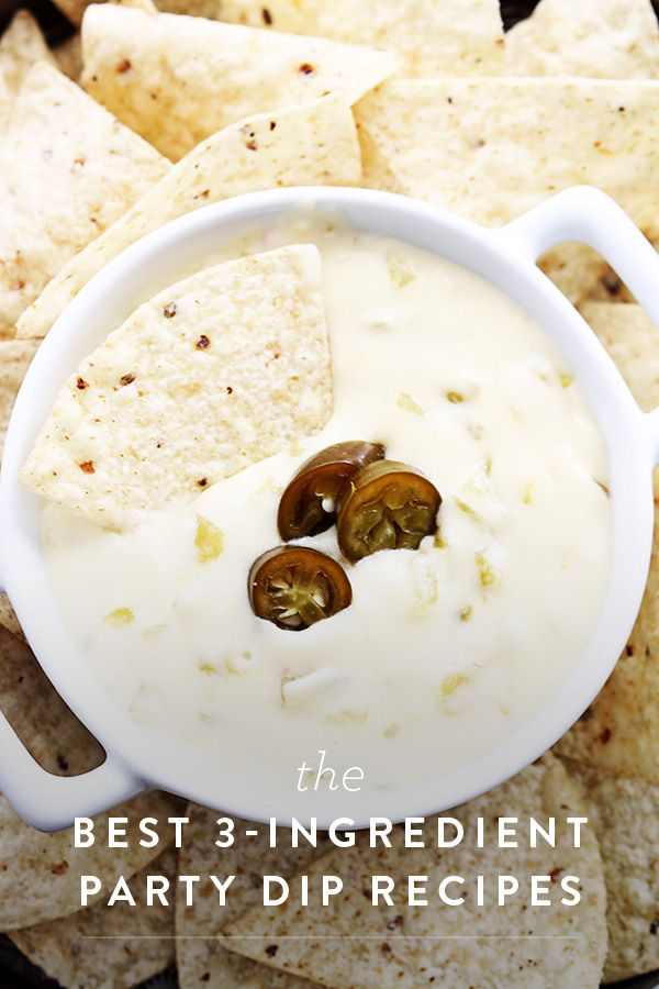 3-Ingredient Party Dip Recipes. The best queso blanco you've never tried. Quick and easy dips you can make for your next tailgate or party.