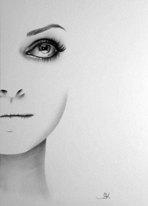 Mila Kunis zwarte zwaan minimalisme potlood tekening portret