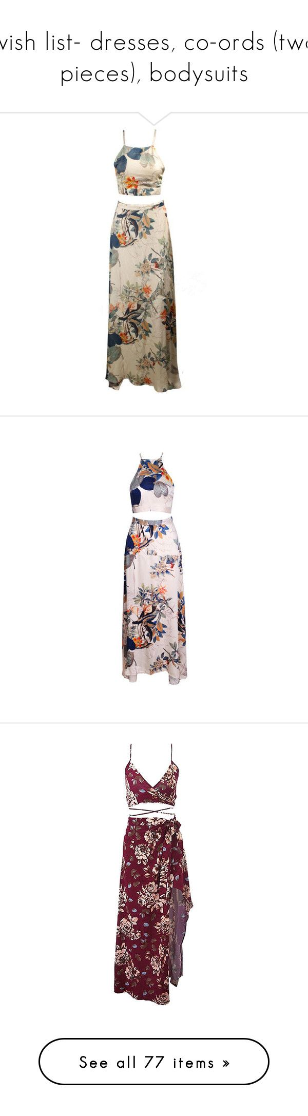"""wish list- dresses, co-ords (two pieces), bodysuits"" by kimabalee ❤ liked on Polyvore featuring skirts, multicolor, floral pattern skirt, multi color skirt, multicolor skirt, criss cross skirt, floral printed skirt, dresses, two piece and two piece set"
