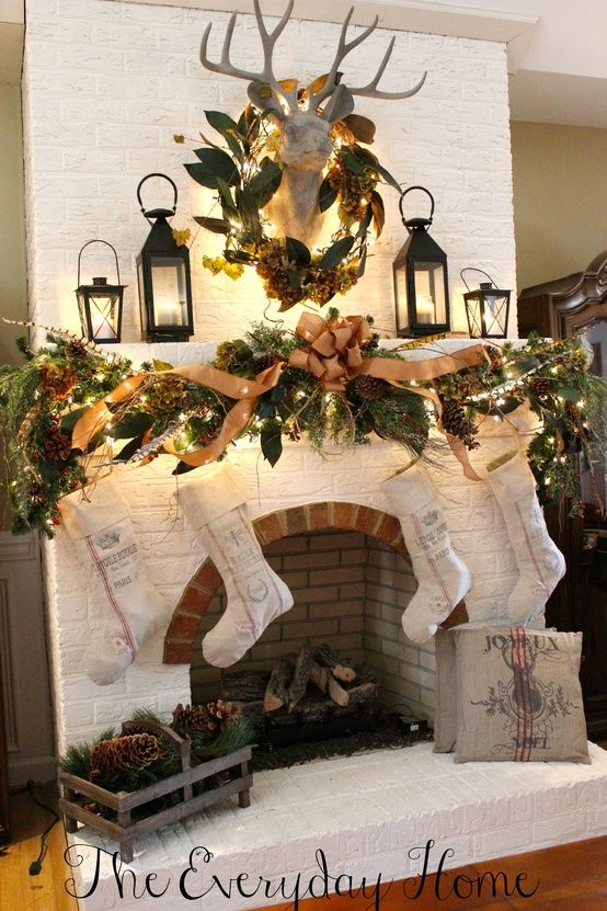 636 best Christmas FireplacesMantels images on Pinterest