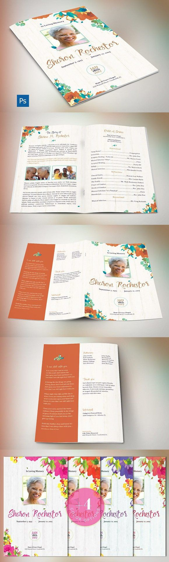 Autumn Floral Funeral Program. Wedding Card Templates