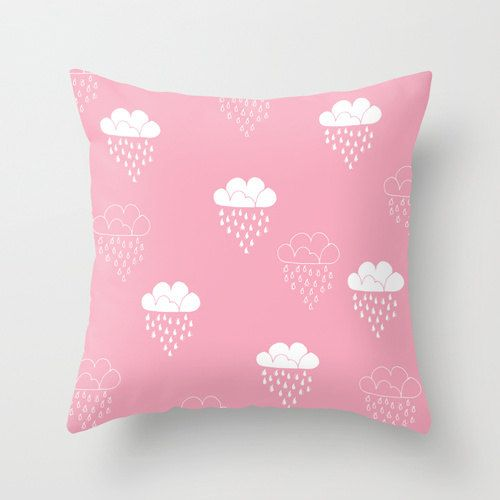 Cute Clouds pillow 16x16 Decorative throw pillows spring pink pastel pillow cover