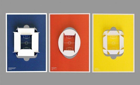 I poster degli stadi di calcio tridimensionali di Martin Postler