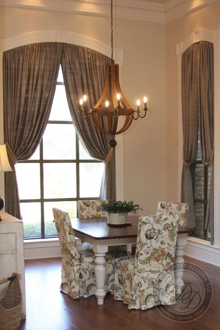 Custom Silk Dining Room Draperies With Curved Hardware For An Arched Window Features Natural Beade Custom Drapery Designs Drapery Designs Custom Window Shade