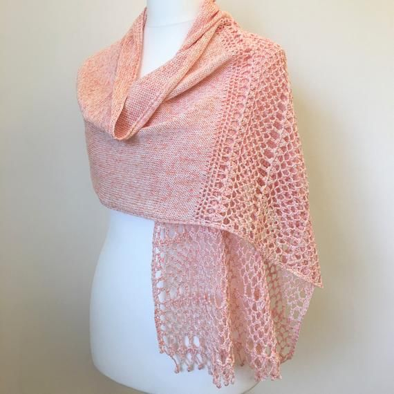 Knitted Shawl Wrap With Crochet Edge In White Pink Melange Cotton Handmade Elegant Ceremony Shrug Stole Women S Accessories For Wedding Scialle A Maglia Scialle Uncinetto