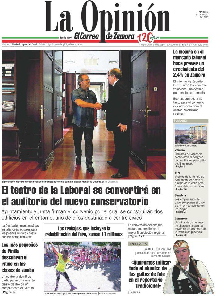 Portada de La Opinión-El Correo de Zamora del 25/07/2017. Más noticias en www.laopiniondezamora.es