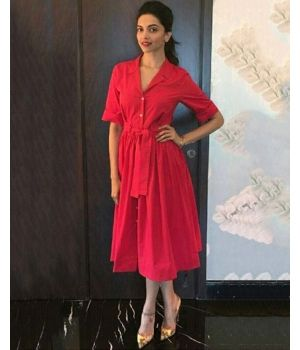 Celebrity Style-Deepika Padukone Toggle sash shirt dress