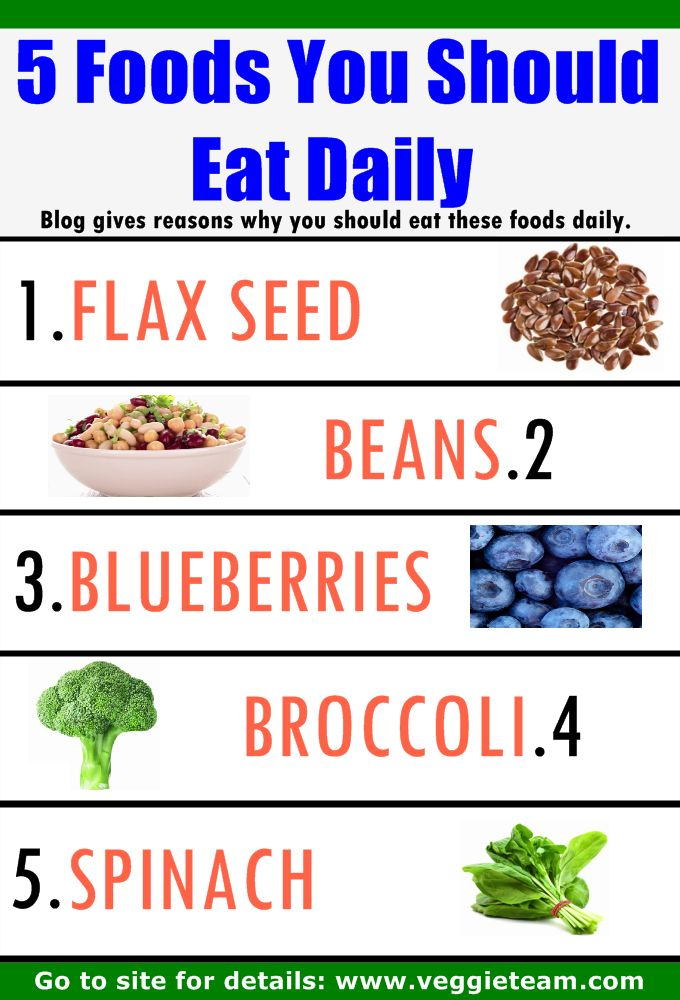 5 foods you should try and eat daily - 1. flax seeds, high in fibre, omega 3 and 6, 2. beans good source of iron; 3. blueberries high in antioxidants and fibre (good for bowels aids digestion); 4. broccoli high in potassium, magnesium and calcium (regulate blood pressure and more) 5. spinach vitamins K (bones) A, manganese ... #plantbased #diet