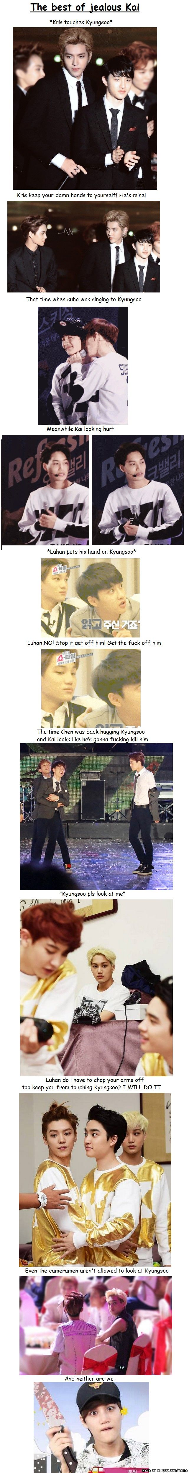 D.O.'s face when Suho sings to him is sooo cute and happy! And Kai does look like he's going to kill Chen.